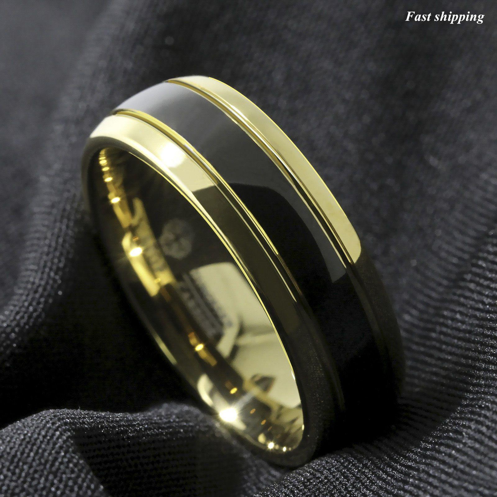 8.99 8Mm Black Dome 18K Gold Tungsten Ring Wedding Band