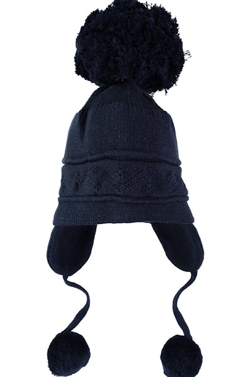 d39de6a2cc3 Emile Et Rose Navy Triple Pom Pom Hat
