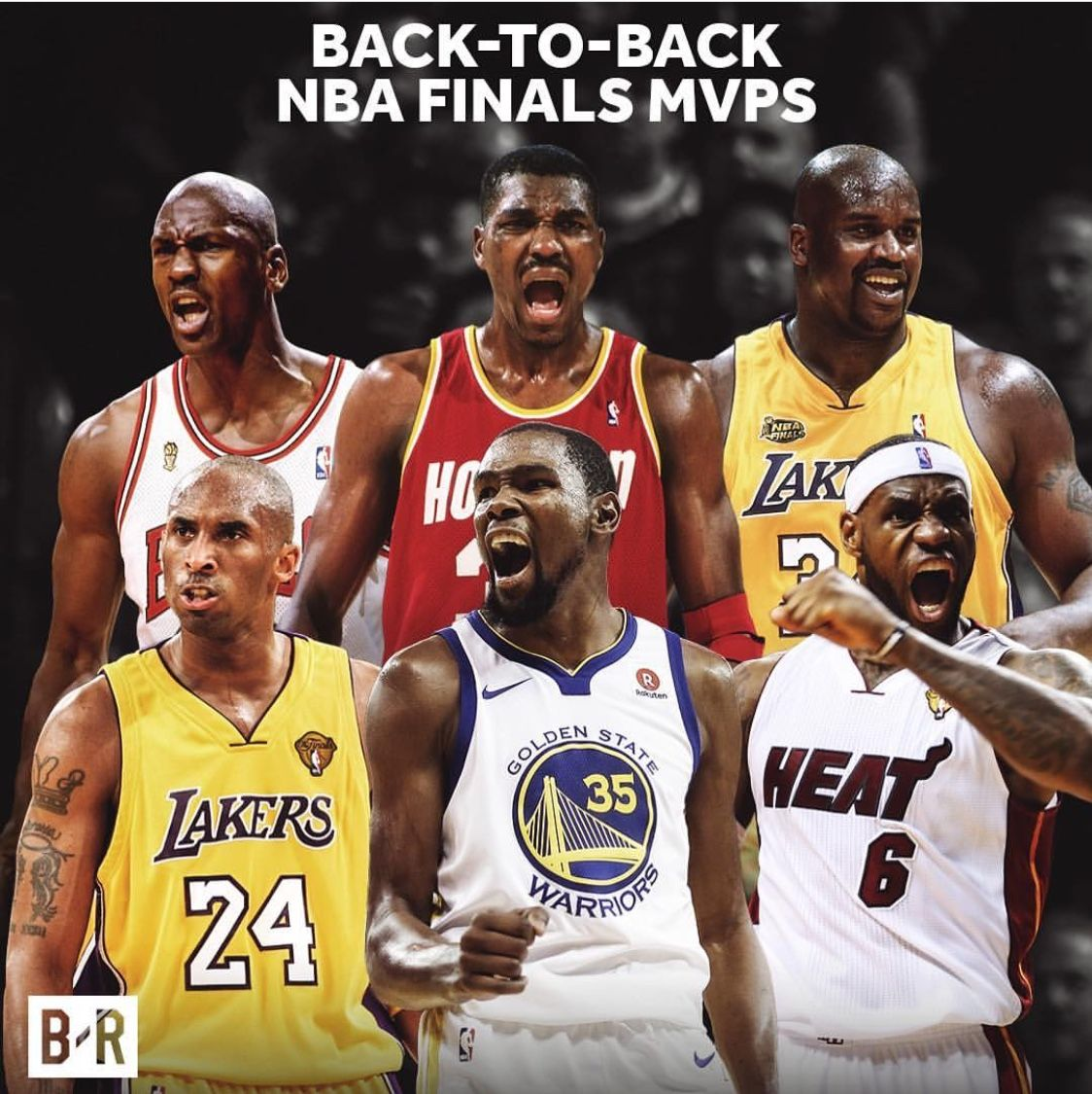 Back To Back Nba Finals Mvp Michael Jordan Hakeem Olajuwon Shaq Kobe Bryant Lebron James And Kevin Durant Nba Finals Nba Players Basketball Legends