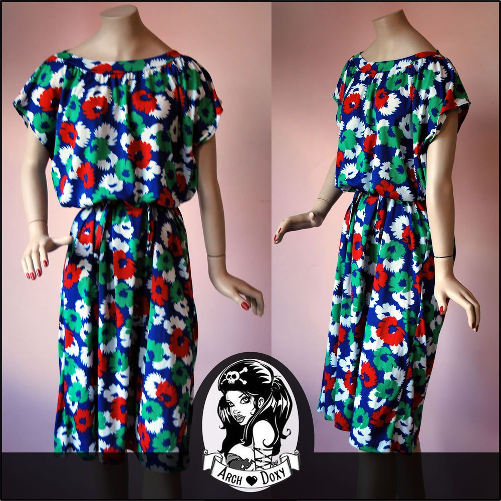 Vintage 1970s Bright C&A Blouson Daisy Pop Art Print Scoop Neck Dress -  UK16
