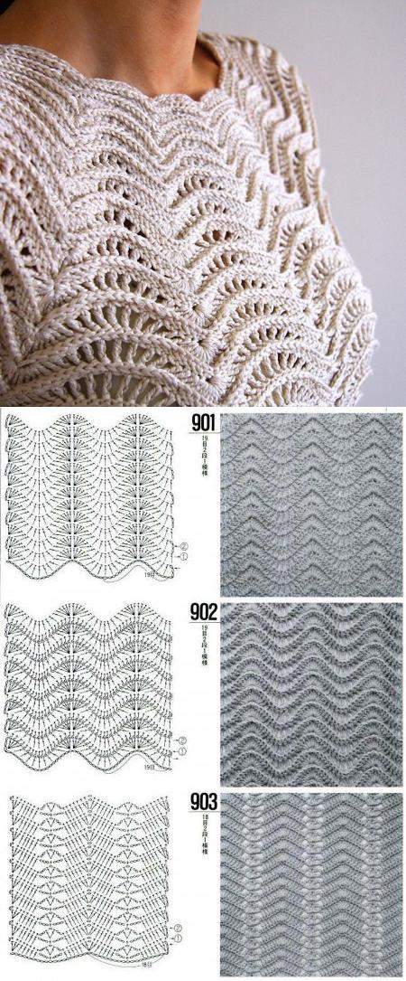 Wave pattern for a jacket. Summer jackets hook pattern Wave ...