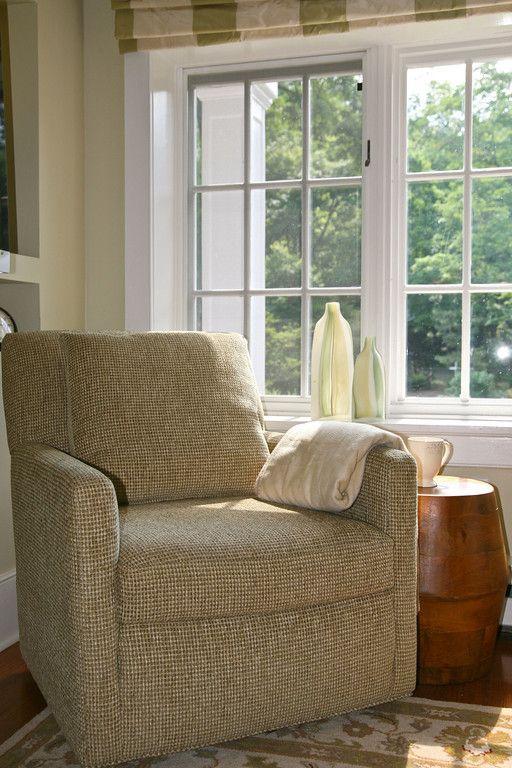 Family TV Room: Lee Industries Swivel Chair, Teak Drum Stool/side Table.