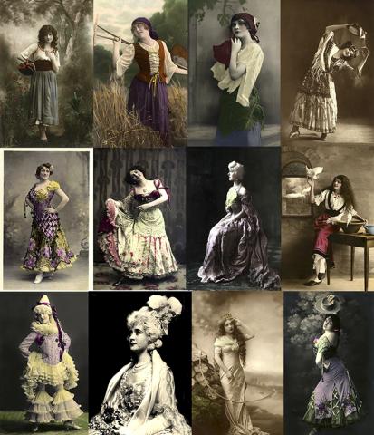 Arquivo com 100 lindas fotografias digitalizadas de fantasias femininas clássicas como ciganas, espanholas, rainhas, Colombinas, moças do campo e outras do inicio do século 20.