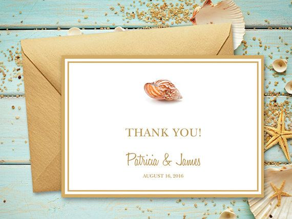 Beach Wedding Thank You Card Template Seashell Etsy Wedding Thank You Cards Thank You Card Template Wedding Thank You
