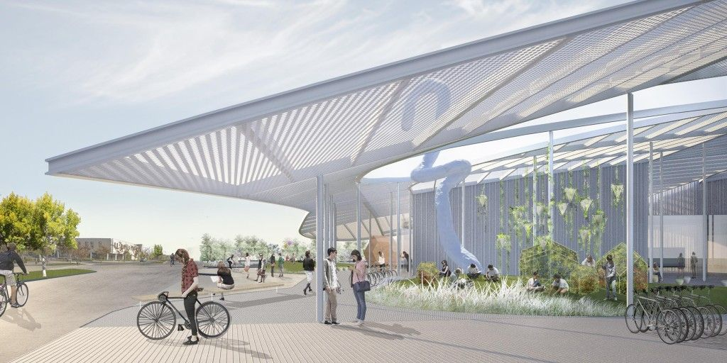 The grand canopy design for the new shrem museum of art for Modern building canopy design