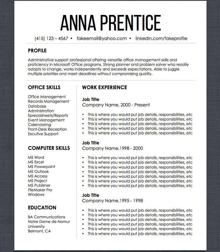 Resume Template + Job Search Organizer Set. Resume Design