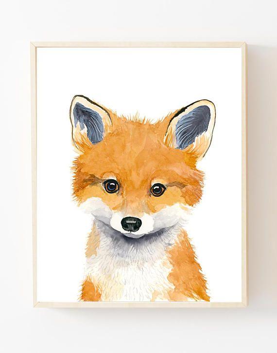 Photo of Watercolor fox cub, animal painting, fox, baby fox, forest nursery, kids wall decor, kids art print, neutral nursery, baby boy