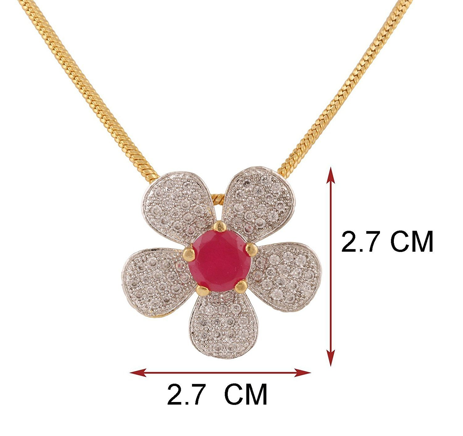 Swasti jewels flower shaped zircon cz fashion jewelry set pendant