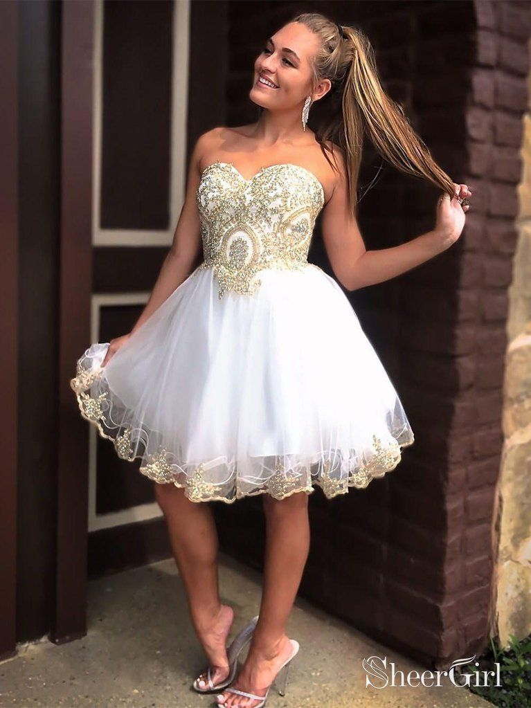 7da67355801 A-line Sweetheart neck gold lace appliqued navy tulle mini length homecoming  dresses