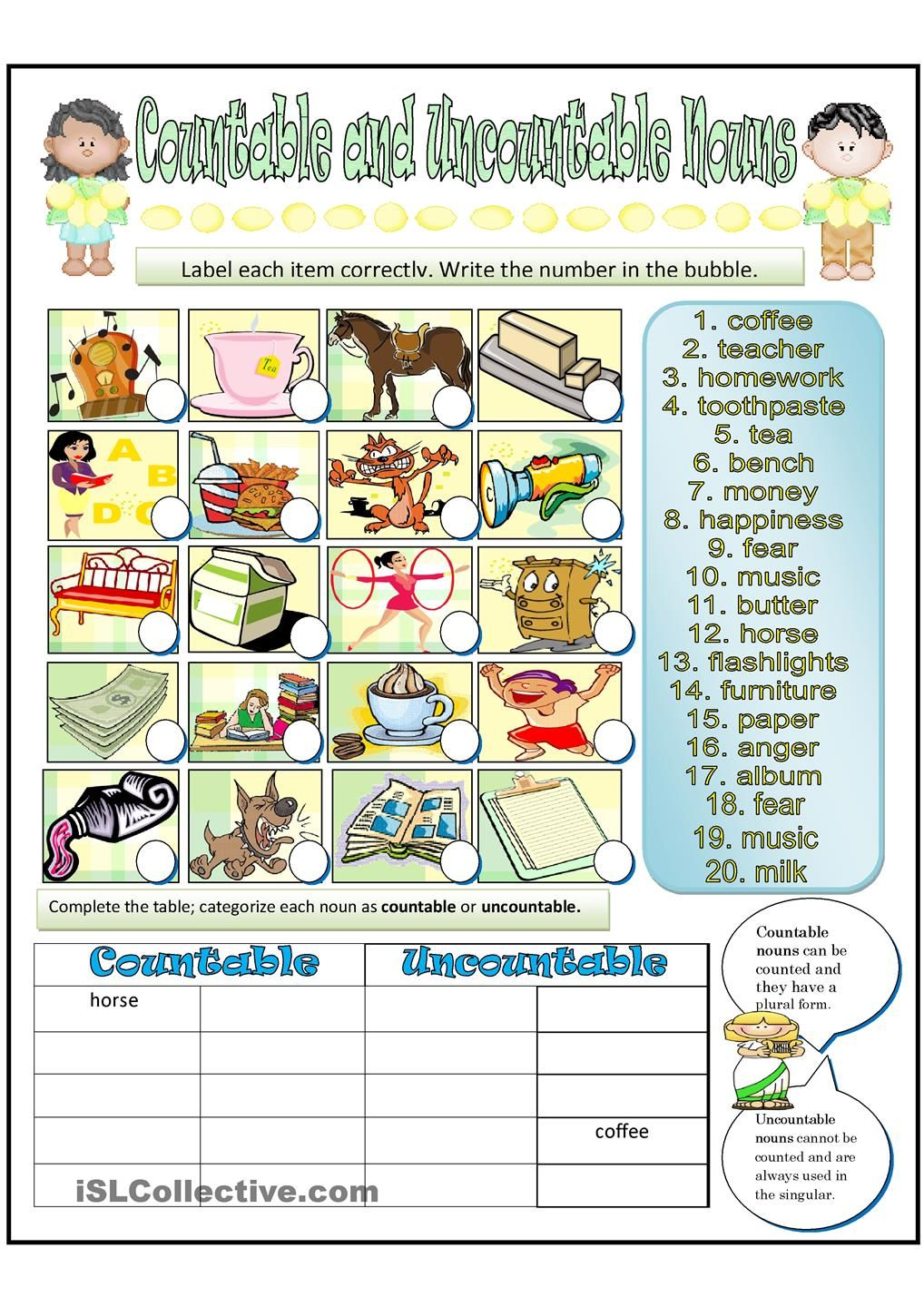 Countable And Uncountable Nouns English Pinterest Uncountable