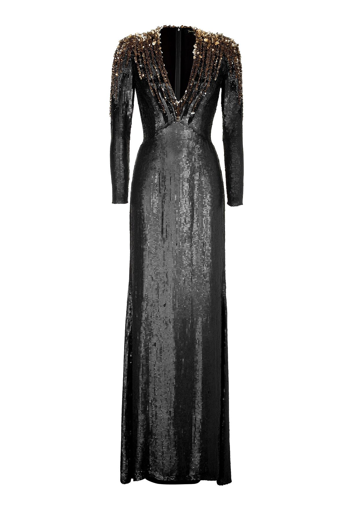 6265c5c070 Black Gold Sequined Silk Gown by JENNY PACKHAM