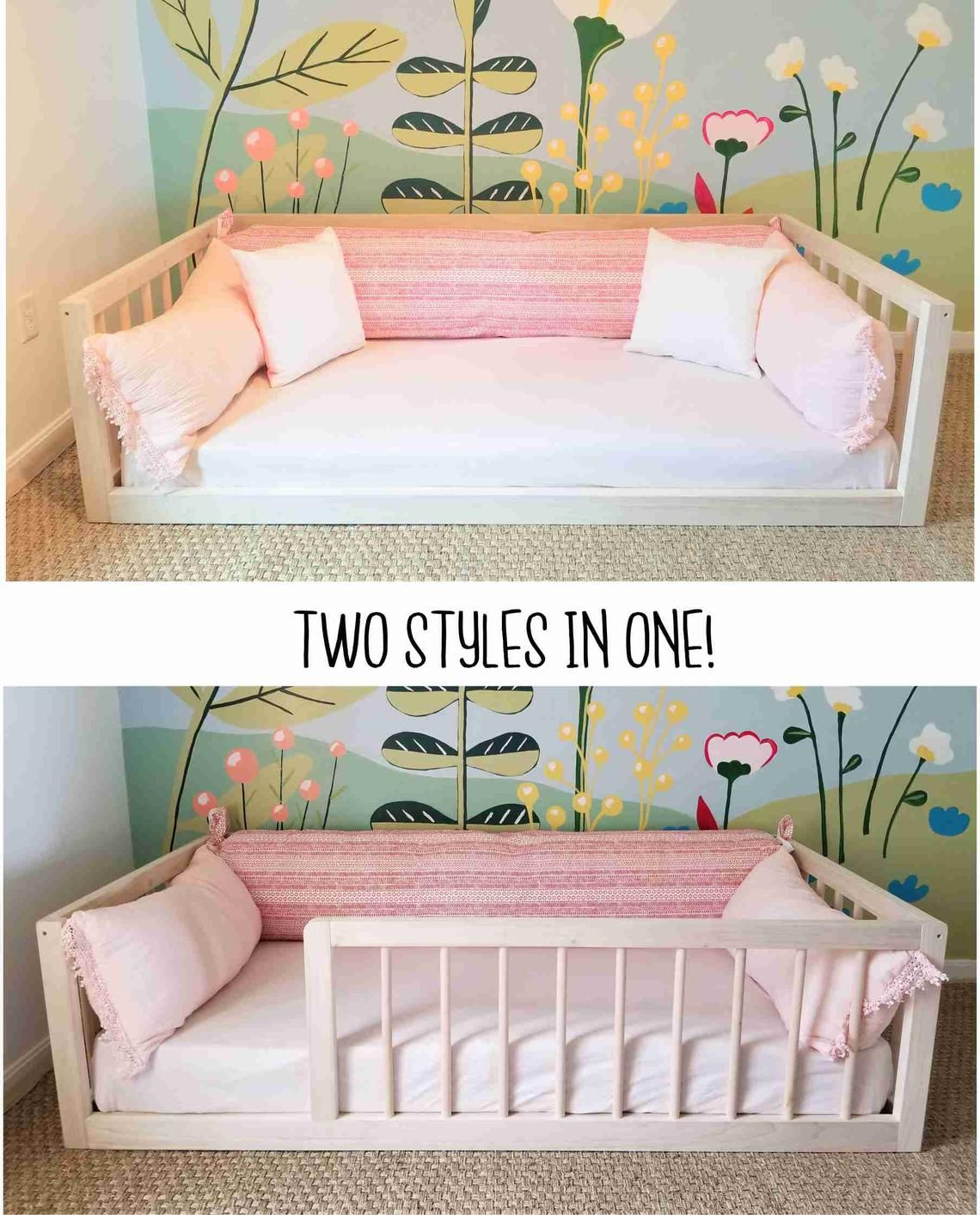 Montessori Floor Bed With Rails Full Or Double Size Floor - Boden Für Kinderzimmer