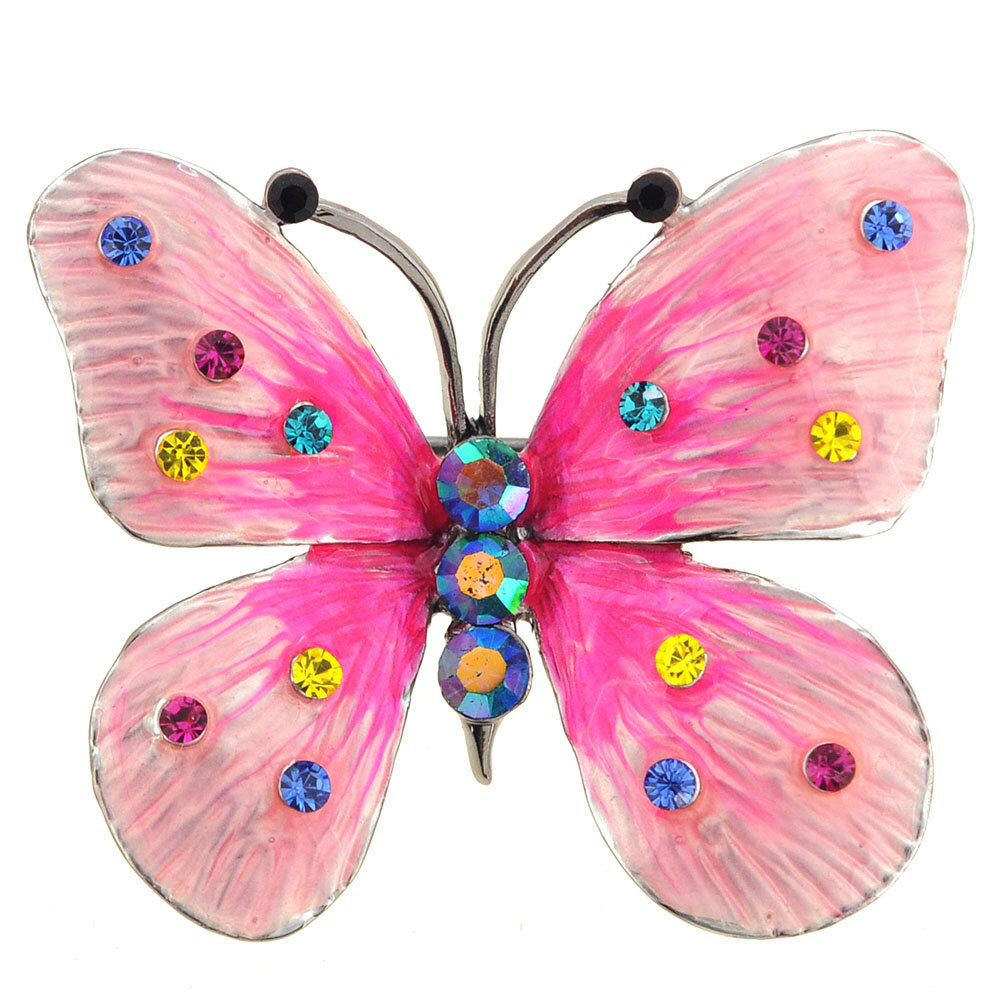 Hot Pink Enamel Butterfly Swarovski Crystal Pin Brooch And Pendant 1002173  By Pinxus On Etsy Https