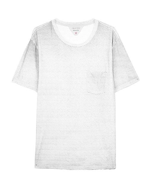 Rag & Bone Printed Pocket Tee - Grey