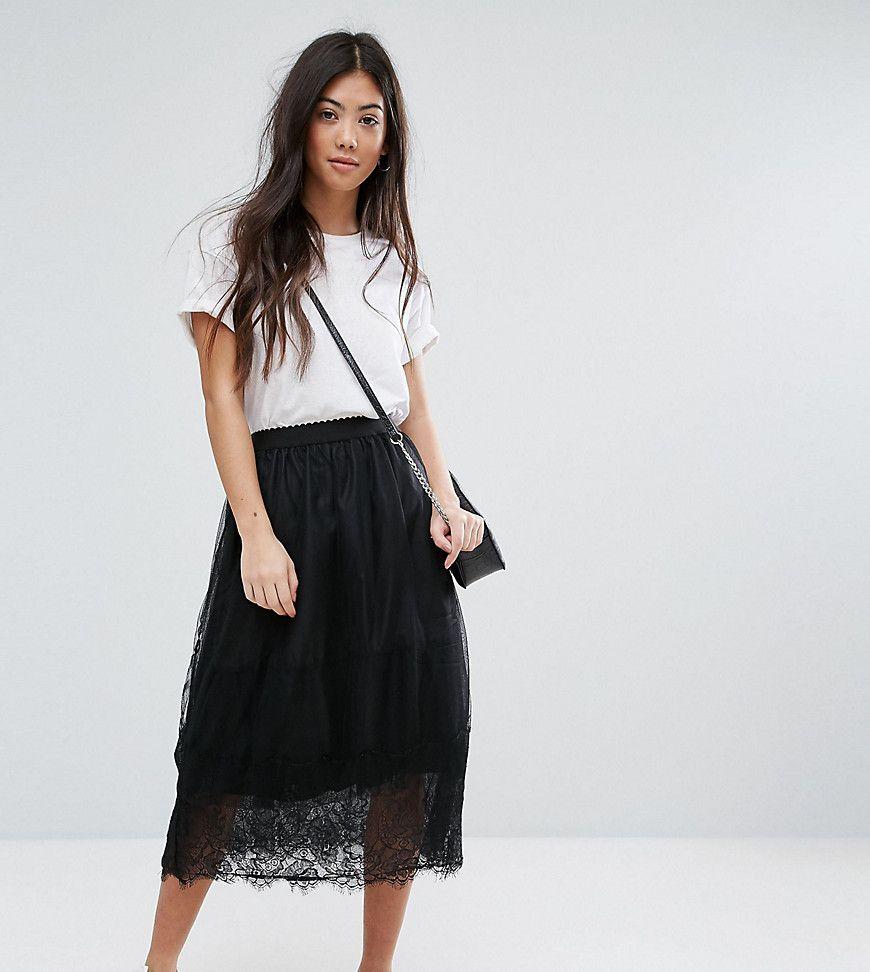 56ffc88c0 New Look Black Lace Midi Skirt
