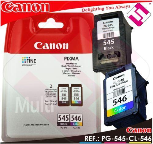 Pack Tinta Canon Pg 545 Cl 546 Negra Color Original Cartucho Negro