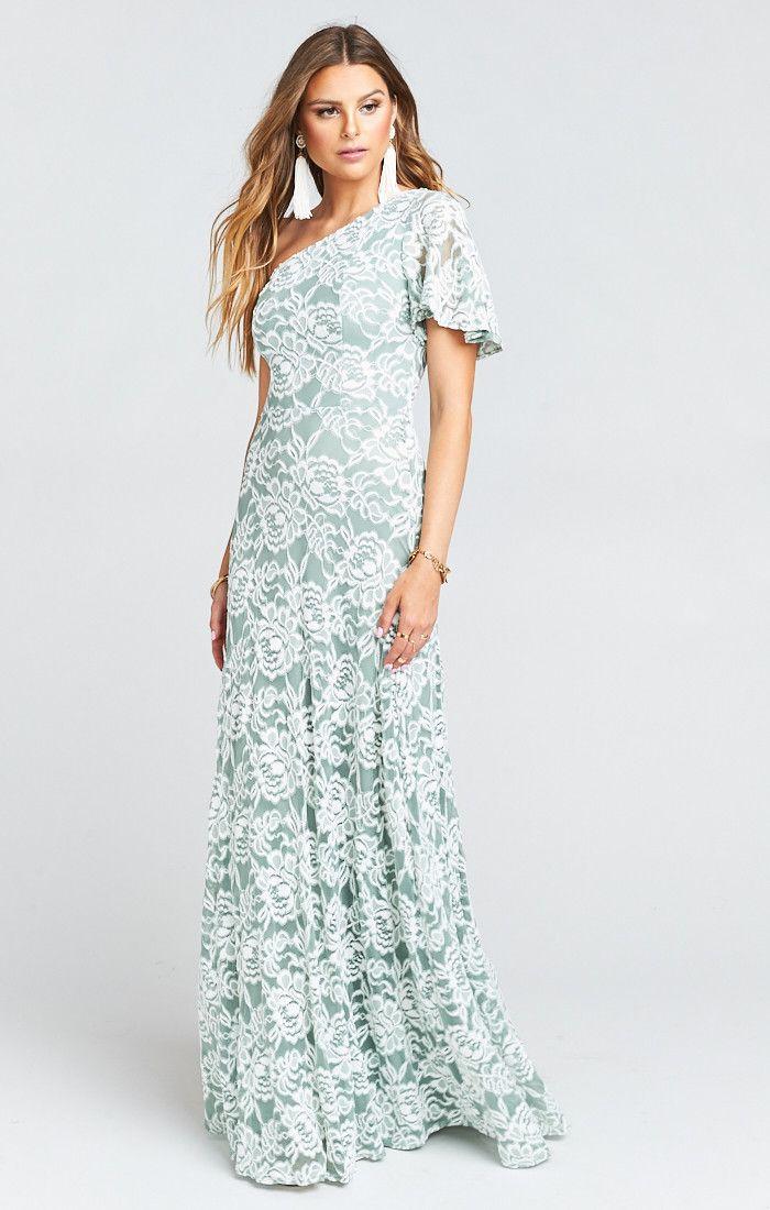 2d40cc7471fb Portia One Shoulder Bridesmaids Dress ~ Lovers Lace Silver Sage | Show Me  Your MuMu