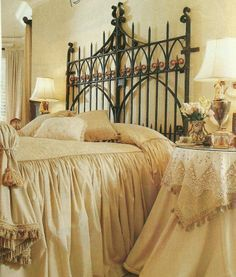 This Garden Gate As A Headboard Is Stunning In Wrought Iron