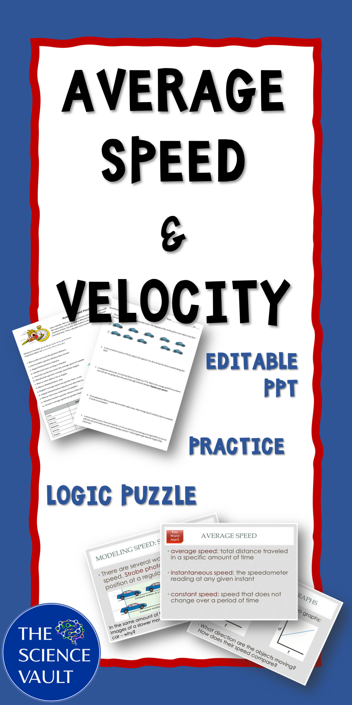 Average Speed Amp Velocity Notes Worksheets And Logic Puzzle