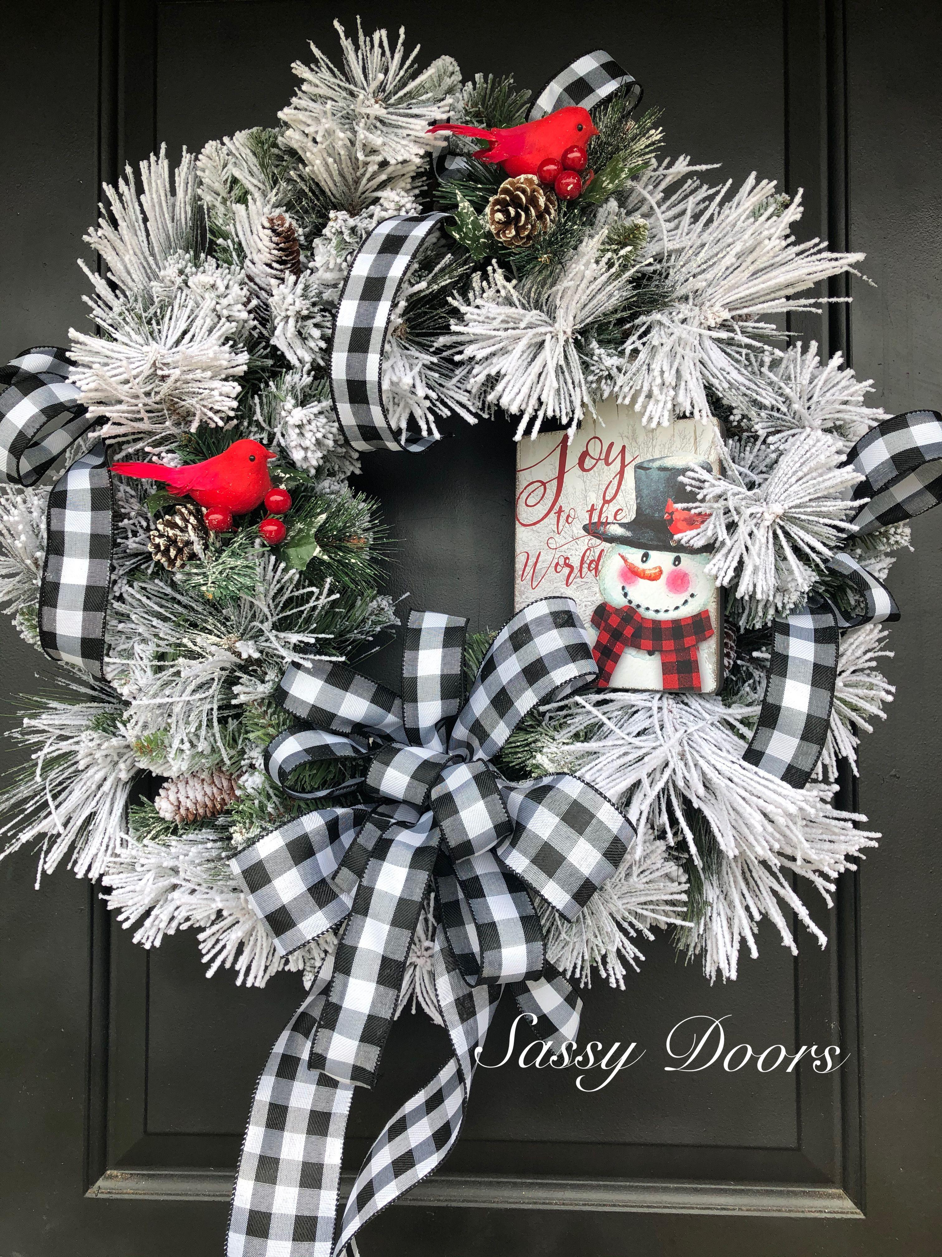 Front Door Wreaths Snowman Door Wreaths Buffalo Plaid Wreath Holiday Decor Snowman Christmas Wreath Christmas Wreaths Christmas Decor