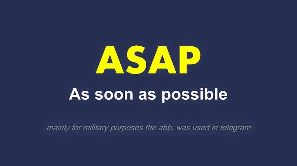 Full Form - #ASAP As Soon as Possible | Word design, Abbreviations, Words