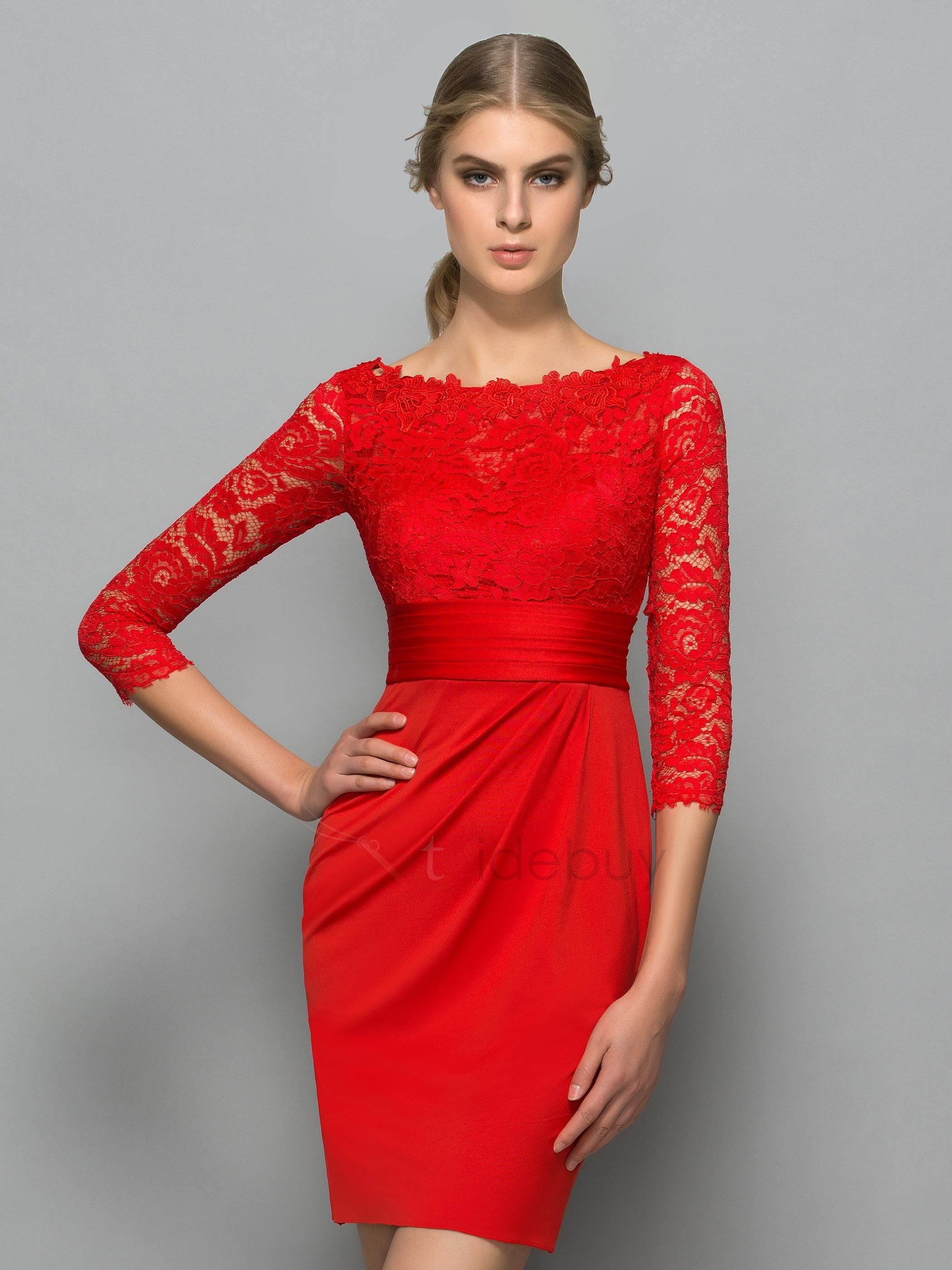 Classy Bateau Neck Length Sleeve Red Lace Cocktail Dress Diane