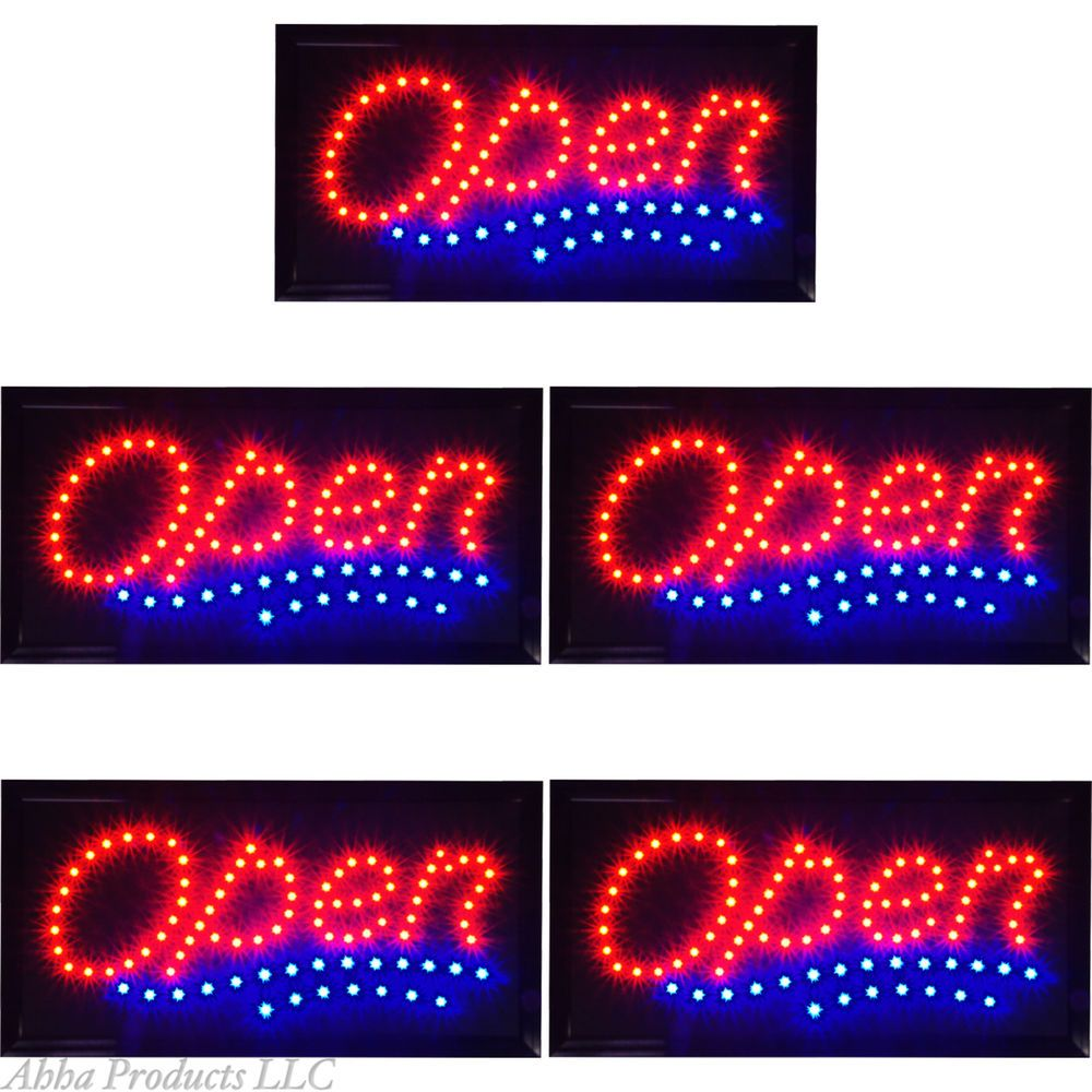 5 Animated 19x10 Classic Wavy Open LED Store Business Shop Bar Window Signs neon #AhhaProducts