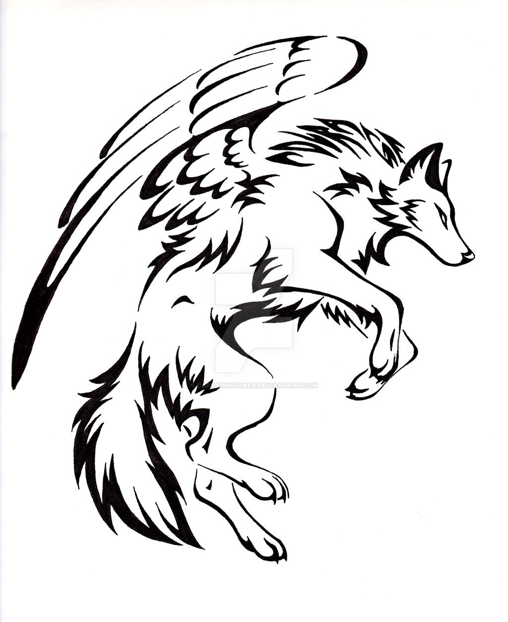 34c235a3bfa8b Courage Winged Wolf Tattoo by CaptainMorwen   Tattoos   Tribal wolf ...