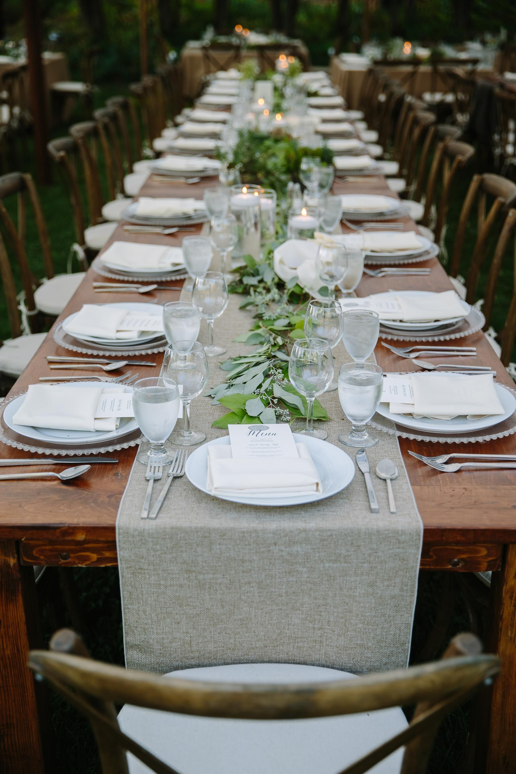 Simple wedding reception decor idea - long rectangle tables with gray table runner + greenery & Simple wedding reception decor idea - long rectangle tables with ...