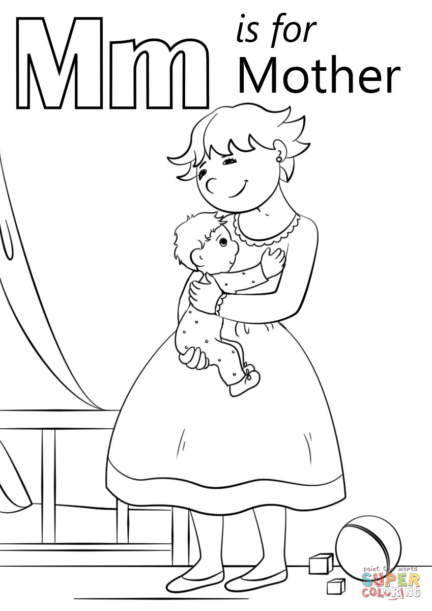 Letter M is for Mother coloring