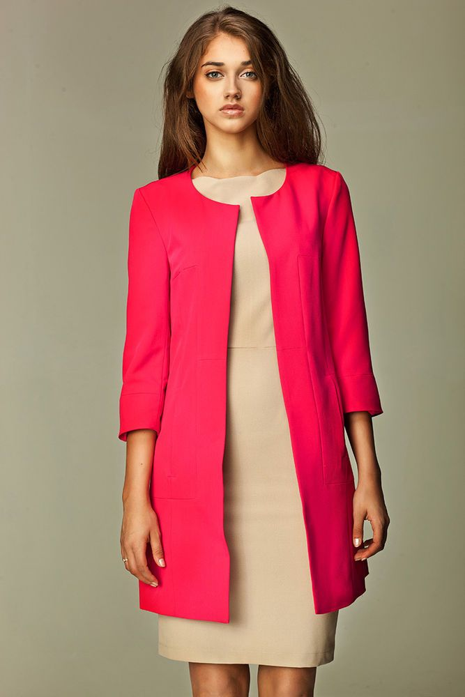 Veste tailleur longue rose