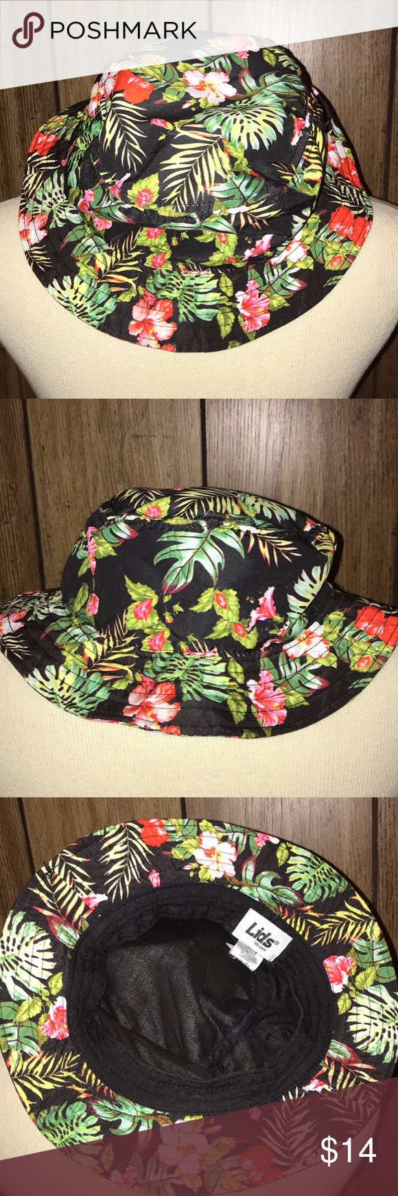 Lids Bucket Hat Hawaiian Print Black With Red White Hibiscus And Leaves Lids Other Clothes Design White Hibiscus Fashion