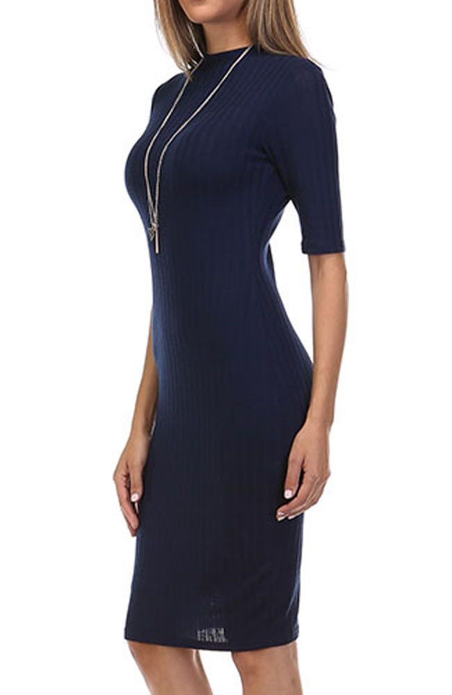 Sexy Solid Ribbed Knit 3/4 Sleeve High Neck Knee Length Midi Bodycon Dress