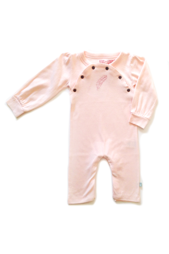 Pearl Coverall via Hatched Baby #hatchedbaby #coverall #cute #pink #microfashion #babyfashion #hipbaby #minifashion #feather #embroidered #finnandemma