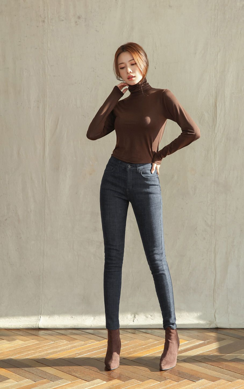Dark Blue Wash Brushed Skinny Jeans  Korean fashion, Fashion