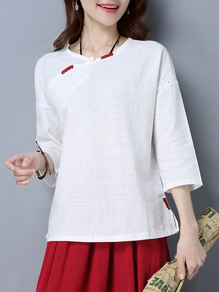 aa2da311b Chinese Style Women 3/4 Sleeve Frog Buttons O-Neck Blouse | Fashion ...