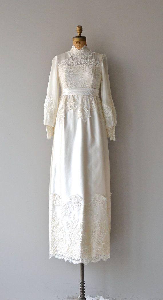 Alwine wedding gown 1960s wedding dress lace 60s by DearGolden