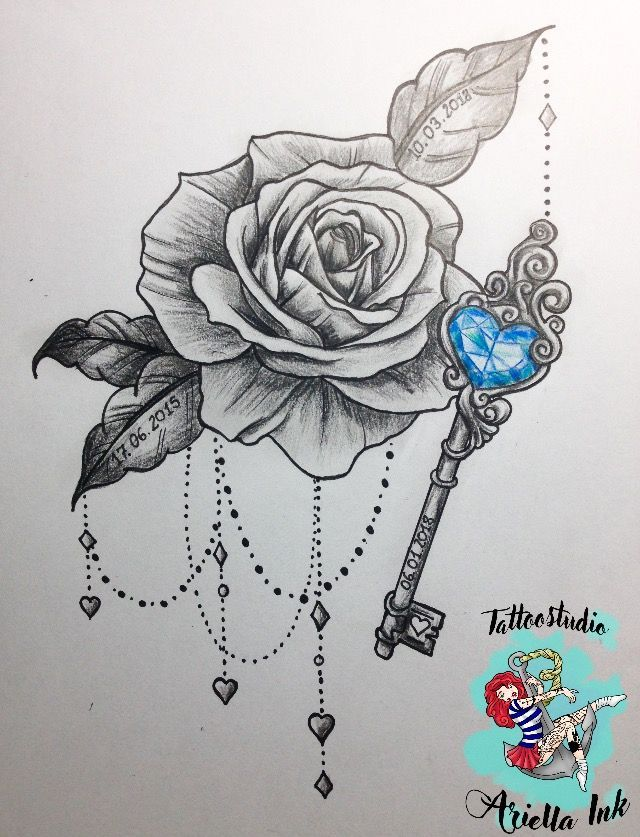Rose And Key Design Rose Blackandgrey Design Tattoo Tattoodesign In 2020 Key Tattoo Designs Jewel Tattoo Key Tattoos