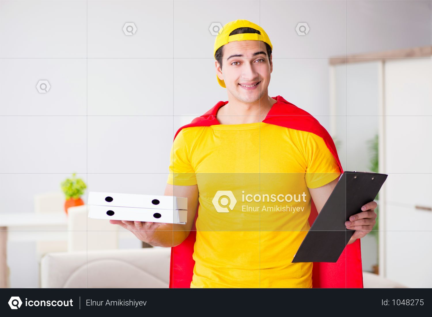 Premium Superhero Pizza Delivery Guy With Red Cover Photo Download In Png Jpg Format Pizza Delivery Guy Pizza Delivery Delivery Photos