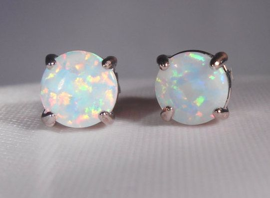 item silver earring blue female double opal sterling oval stud green junxin jewelry white filled fire