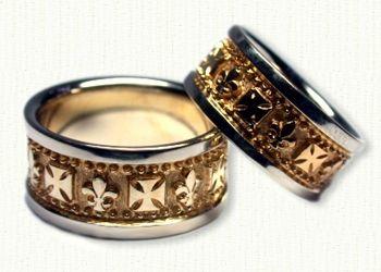 Custom Fleur de Lis and German Cross Wedding Band Set Any symbol
