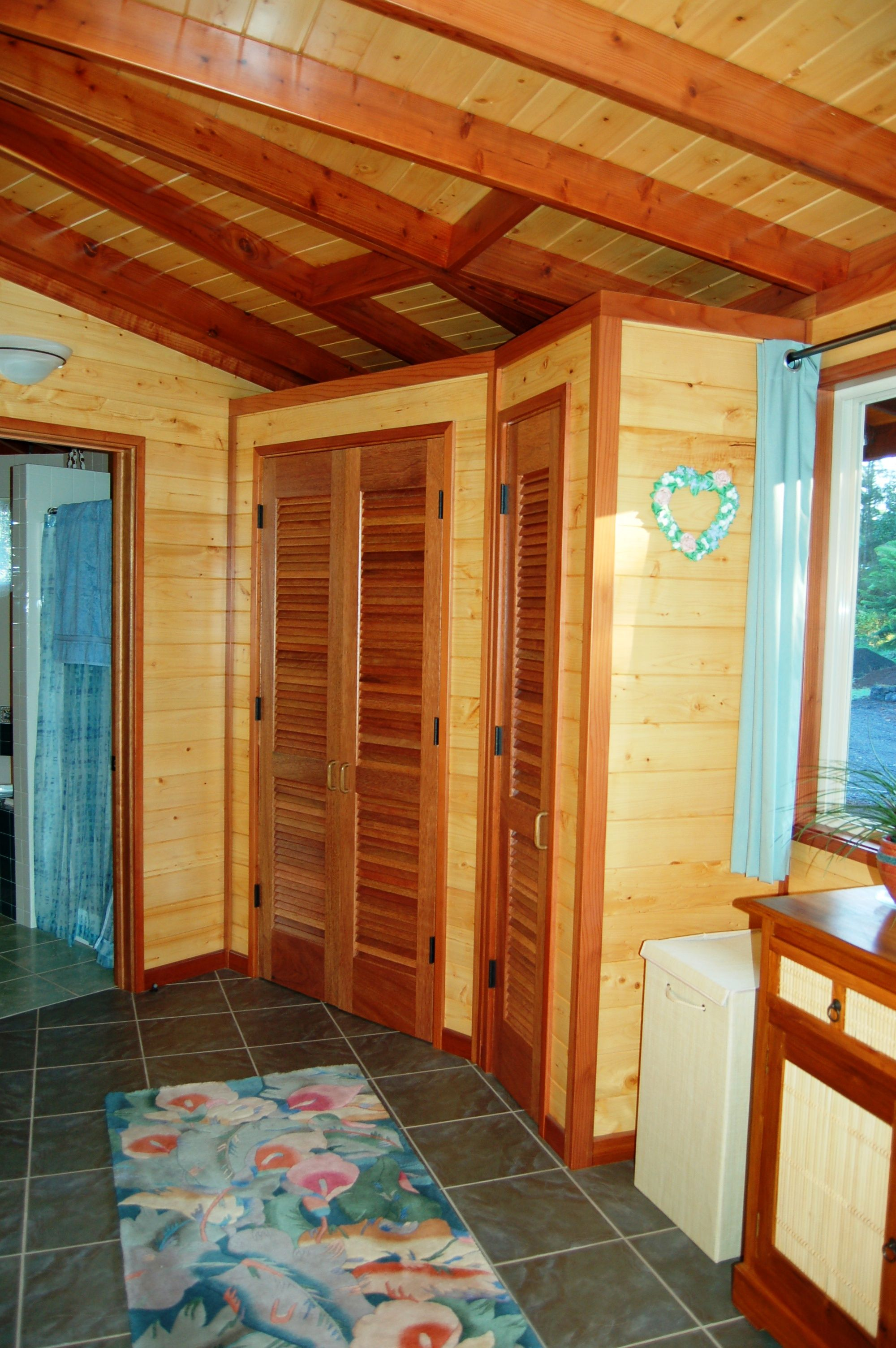 Cedar Walls In Bathroom Double Wall With Interior Stk Paneling