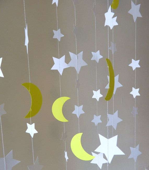 Stars and Moons Paper Garlands To the Moon and Back Decorations