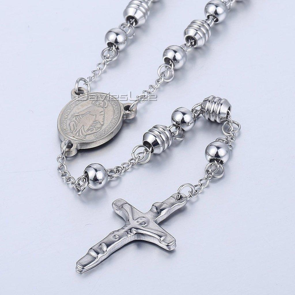 Davieslee mens womens unisex stainless steel bead chain jesus christ