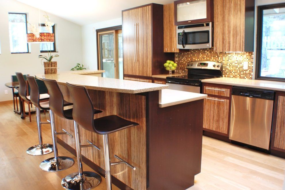 Breakfast counter designs kitchen contemporary with two tone wood ...