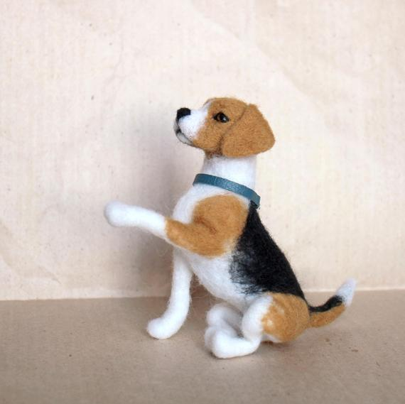 Beagle Felted Statue Realistic Dog Miniature Beagle Dog
