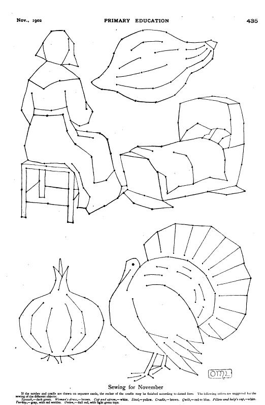 vintage thanksgiving colouring page or sewing cards http