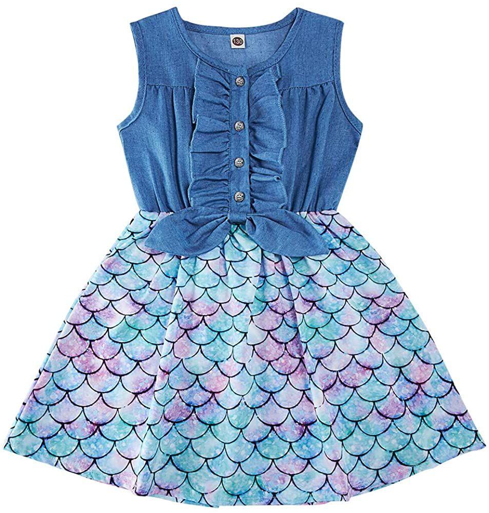 Summer Denim Tops Dresses For Toddler Girls 2 3t Mermaid Print Princess Sundress Sleeveless Sp Little Girl Princess Dresses Dresses For Tweens One Piece Outfit [ 1000 x 953 Pixel ]