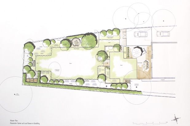 gartenplan mit pool, gartenplan (master plan) für einen privatgarten auf zwei ebenen, Design ideen