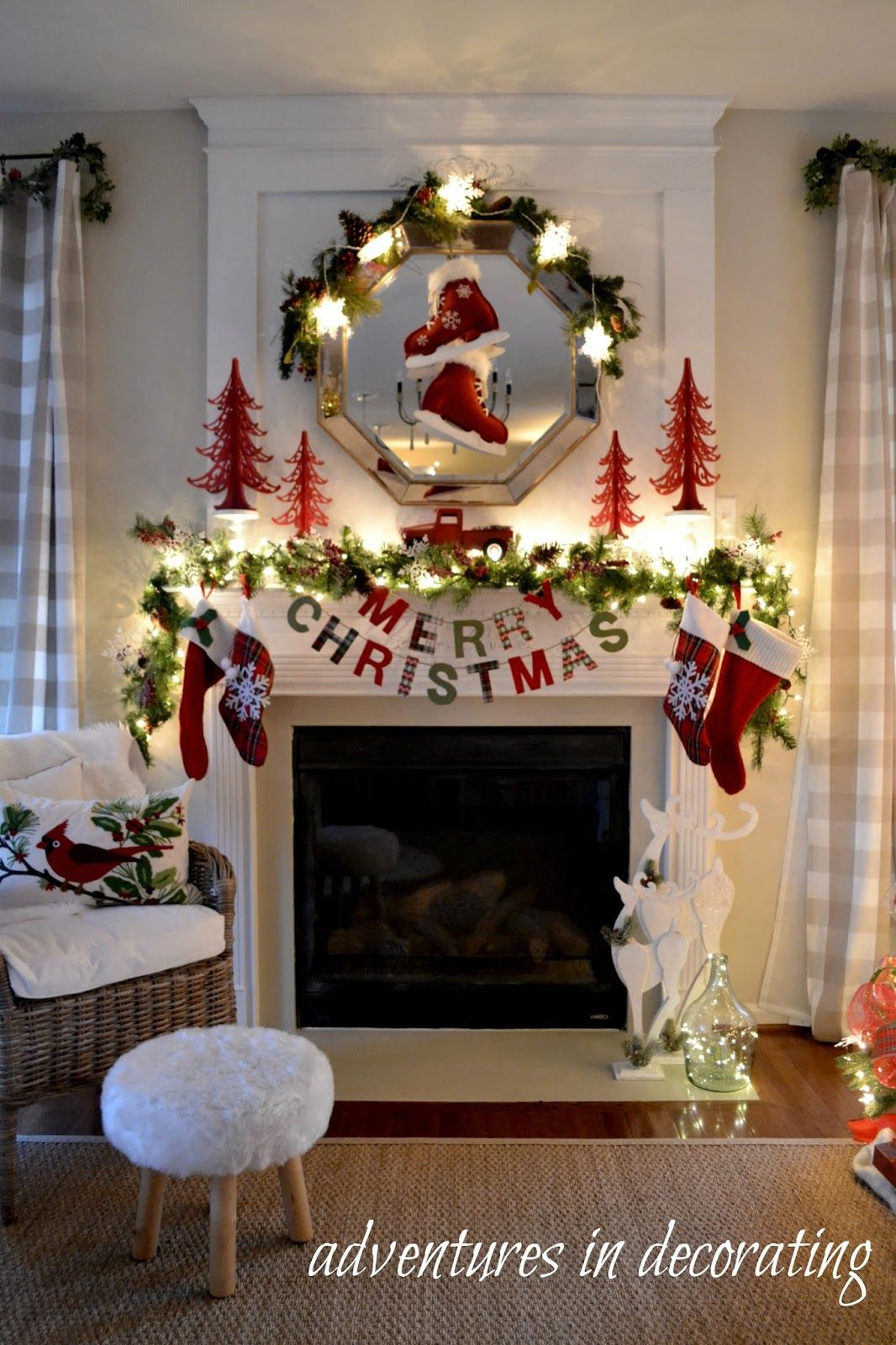 adventures in decorating our christmas great room mantel for a merry little christmas blog hop - Christmas Mantel Decorating Ideas Pinterest